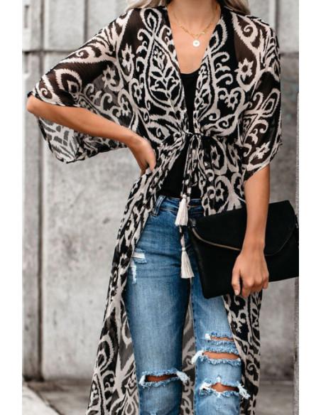 Kimono beige Duster Imprimé - T.U
