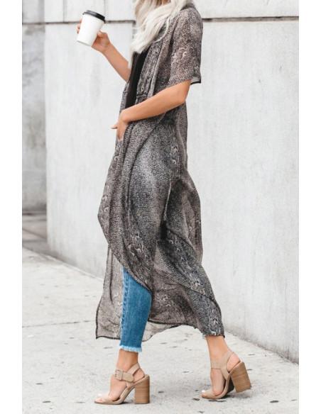 Kimono gris imprimé - T.U