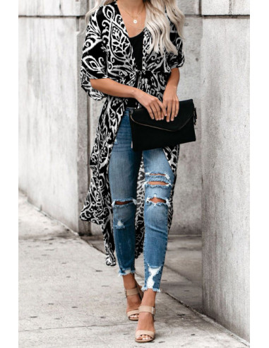 Kimono noir Duster Imprimé - T.U