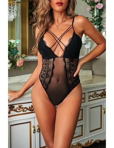 Body sexy noir en dentelle à découpes croisées