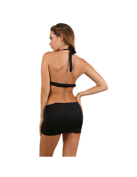 6750000SDR : Robe courte dos nu, décolleté plongeant, fermeture laçage dos, bretelles et ceinture finition strass - Noir -...