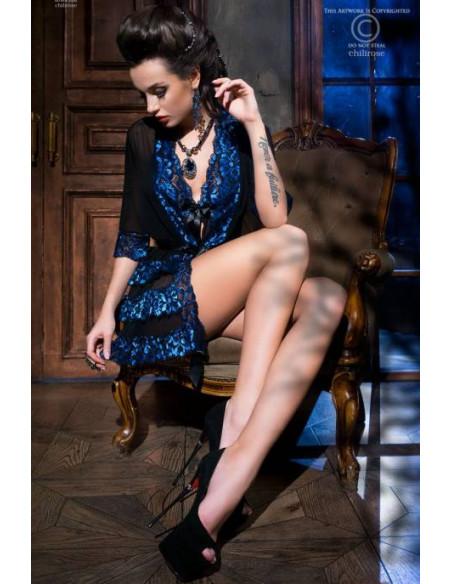 Ensemble peignoir CR3837 Bleu